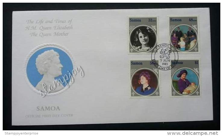 Samoa The Life And Times Of H.M Queen Elizabeth 1985 Royal (stamp FDC) - Samoa