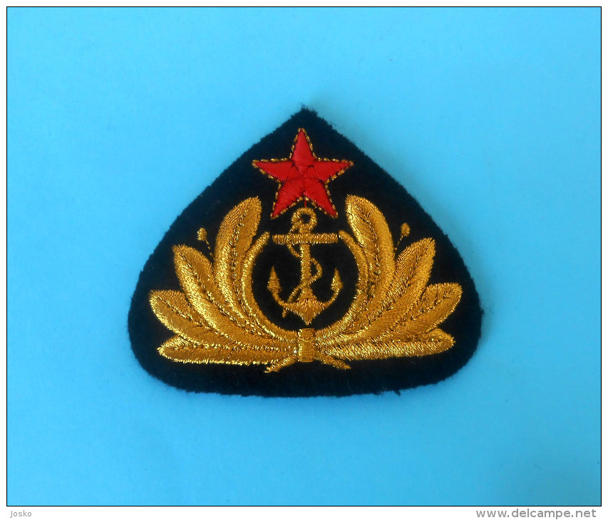YUGOSLAVIA NAVY Vintage Embroidered Hat Cap Badge JNA Army ** Marine Kriegsmarine Marina Militare Fuerzas Navales Navale - Uniforms