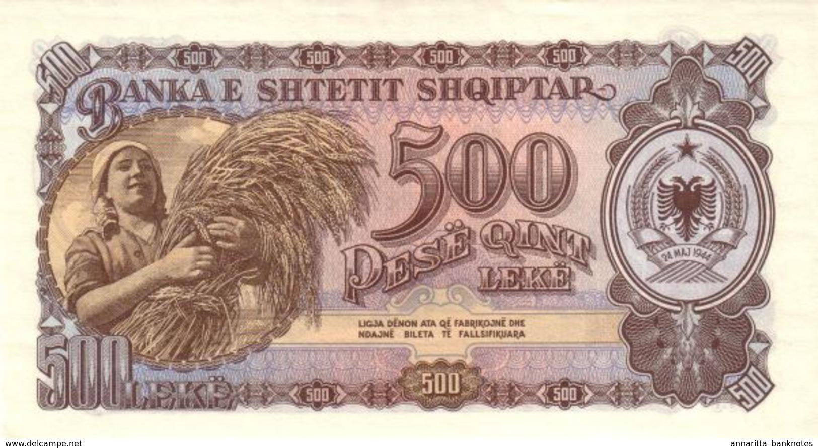 ALBANIA 500 LEKË 1957 P-31 UNC [AL216b] - Albanien