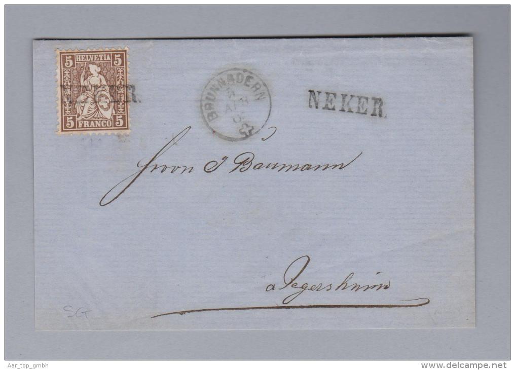 Heimat Schweiz SG NEKER Langstempel 186?-04-04 Brunnadern Brief Vorderseite Nach Degersheim - 1862-1881 Helvetia Assise (dentelés)