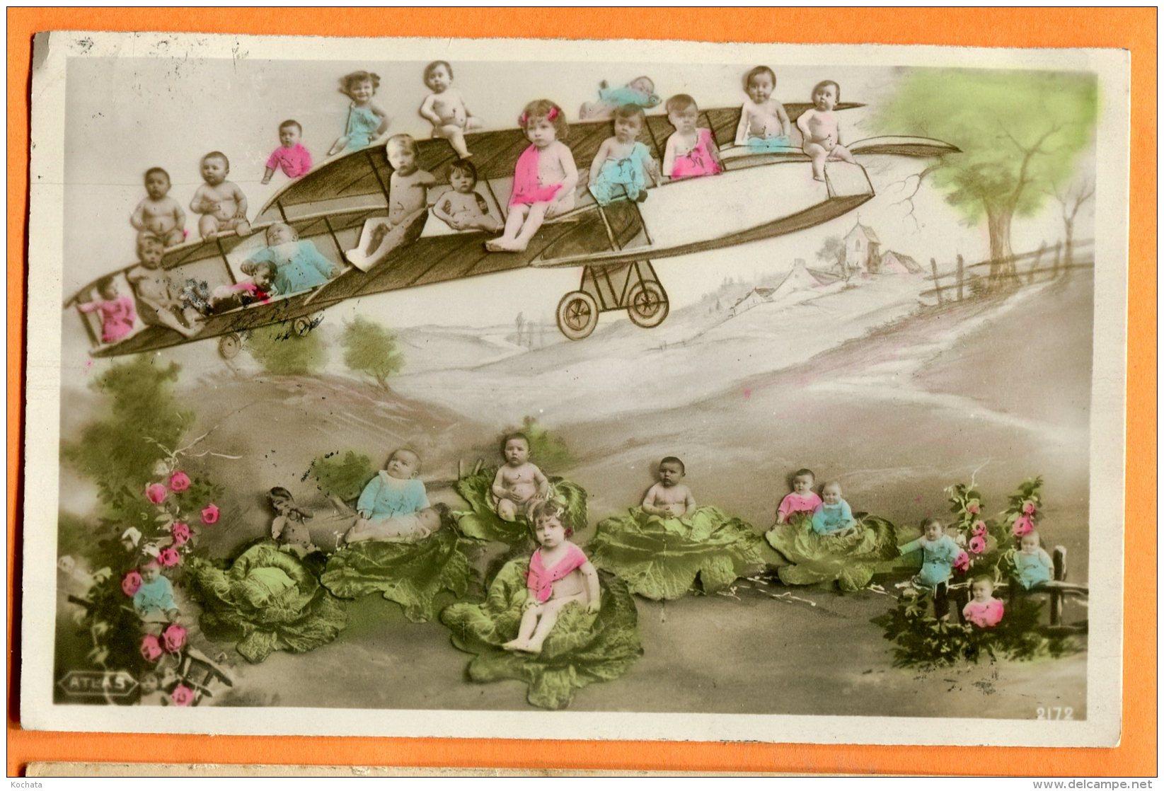 CAL1146, Bébés Assis Sur Un Avion, Plane, Choux,  Circulée 1910 - Neonati