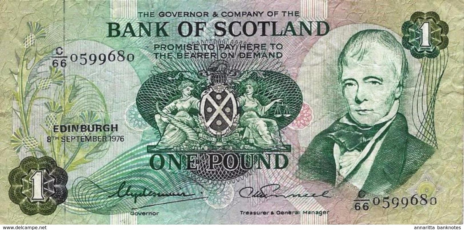 SCOTLAND 1 POUND 1976 P-111c VF RARE S/N C/66 0599680 [SQ111c] - [ 3] Scotland