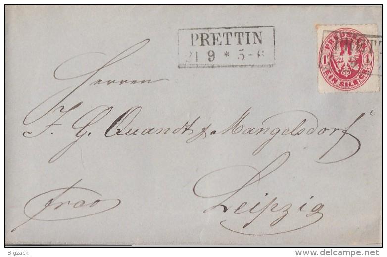 Preussen Brief R2 Prettin 21.9. Gel. Nach Leipzig - Preussen