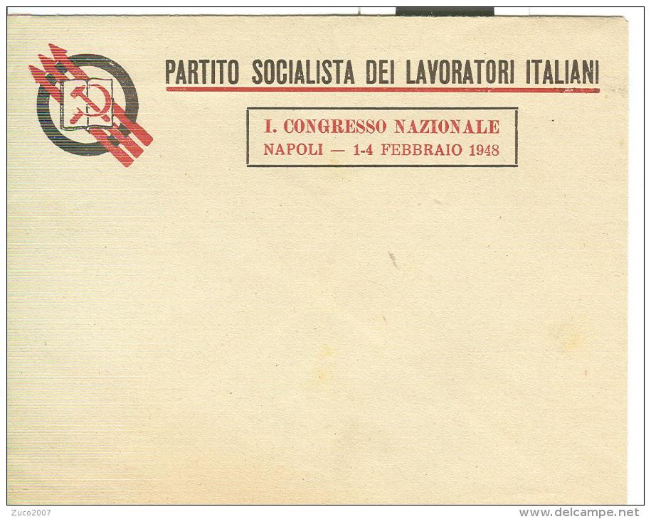 PARTITO SOCIALISTA DEI LAVORATORI ITALIANI-1° CONGRESSO NAZIONALE NAPOLI,FEBBRAIO 1948- BUSTA ORIGINALE- - Organisations