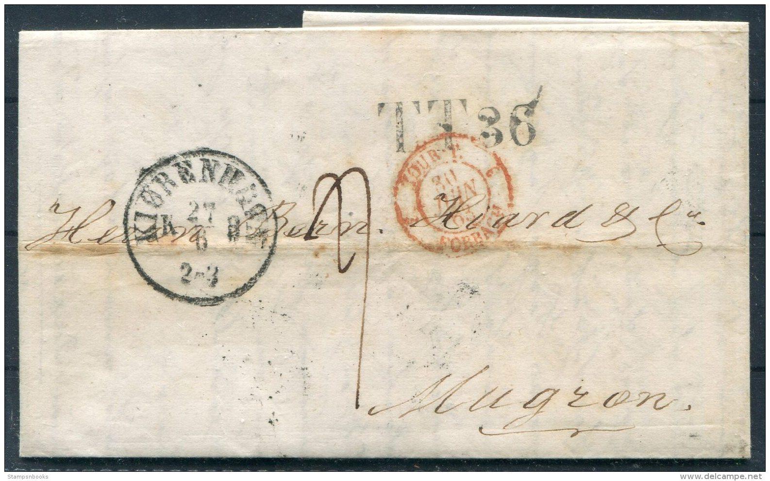 1863 Denmark Copenhagen Entire - Mugron France Via Hamburg TT36 - 1851-63 (Frederik VII)
