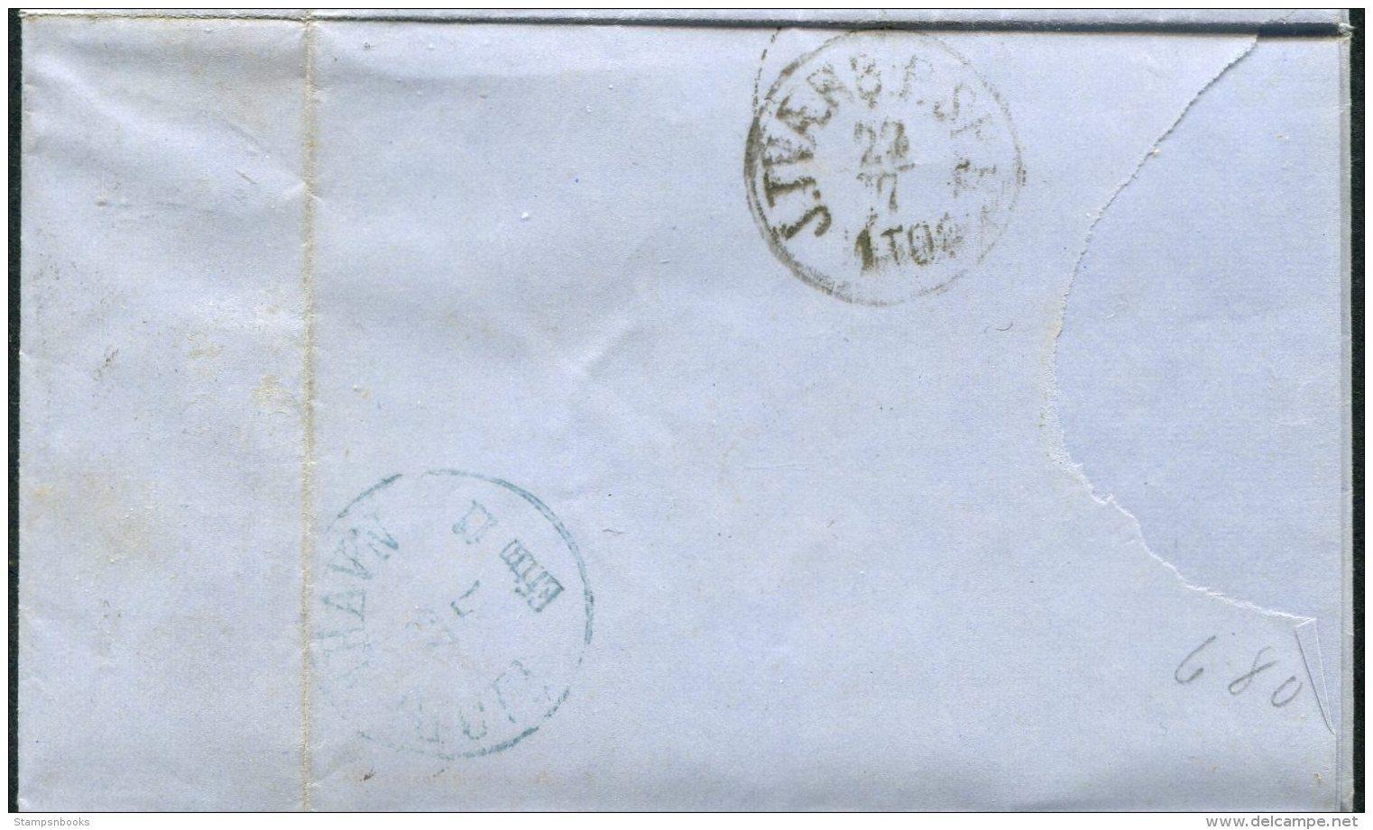 1868 Denmark Skive 34 Numeral Entire - Goldschmidt Copenhagen 4sk + 8sk Mixed Franking - 1864-04 (Christian IX)