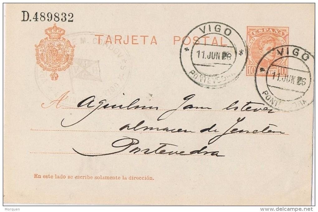 18668. Entero Potal VIGO (Pontevedra) 1906. Tampon Comercial Vda. De Cordoves - 1850-1931