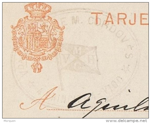 18668. Entero Potal VIGO (Pontevedra) 1906. Tampon Comercial Vda. De Cordoves - Enteros Postales