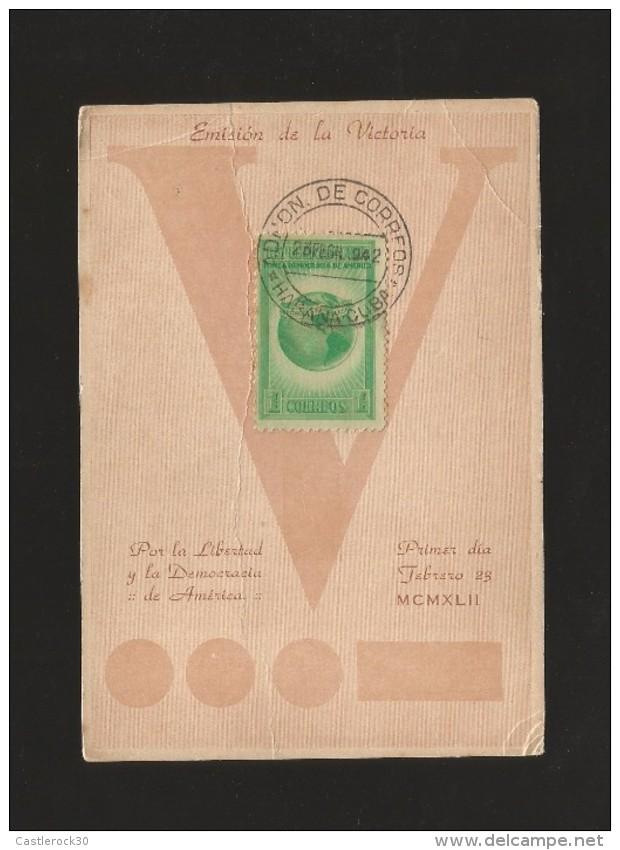 E)1942 CUBA, GLOBE SHOWING WESTERN HEMISPHERE, 368 A107, FANCY CANC.  MARCOPHILIA - Cuba