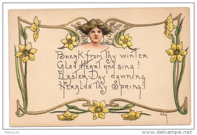 HB Griggs Art Nouveau Easter Woman Daffodils Poem Embossed 1909 HBG Postcard - Other Illustrators