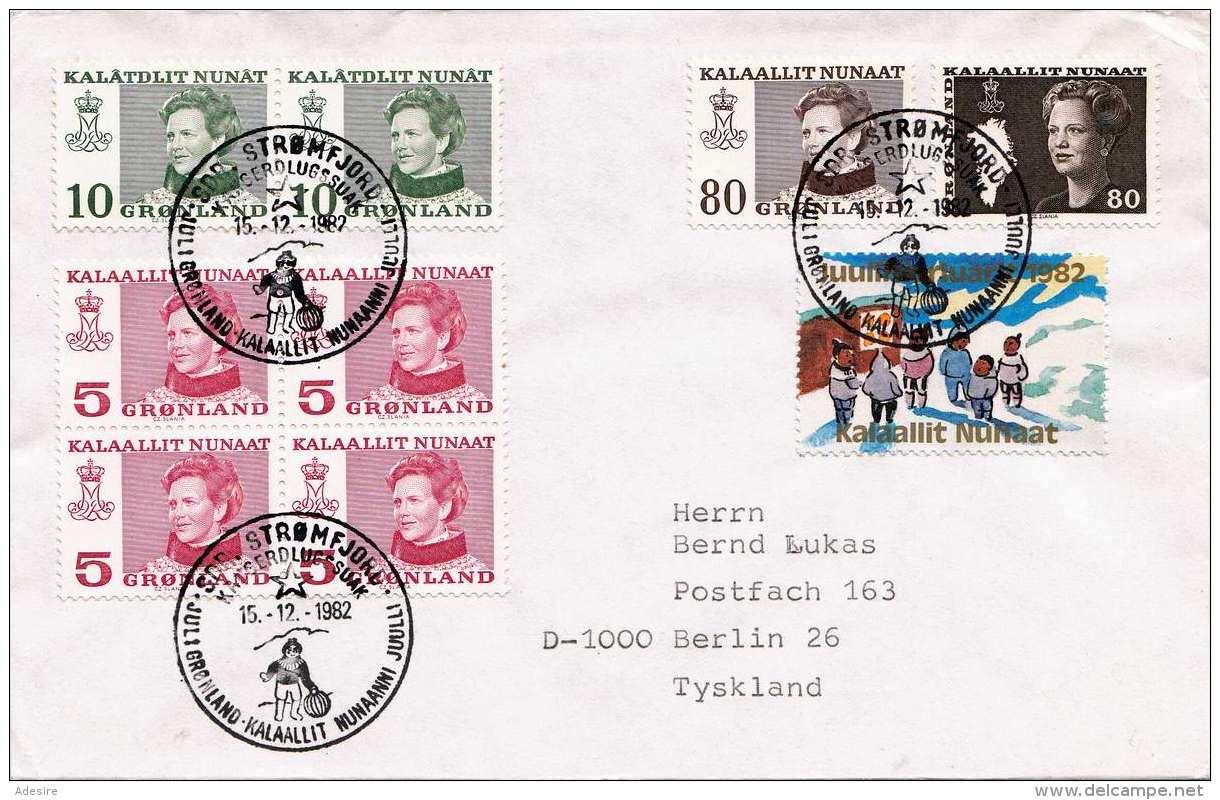 GRÖNLAND 1982 - 9 Fach Frankierung Auf Brief Gel.v. Strömflord > Berlin - Grönland