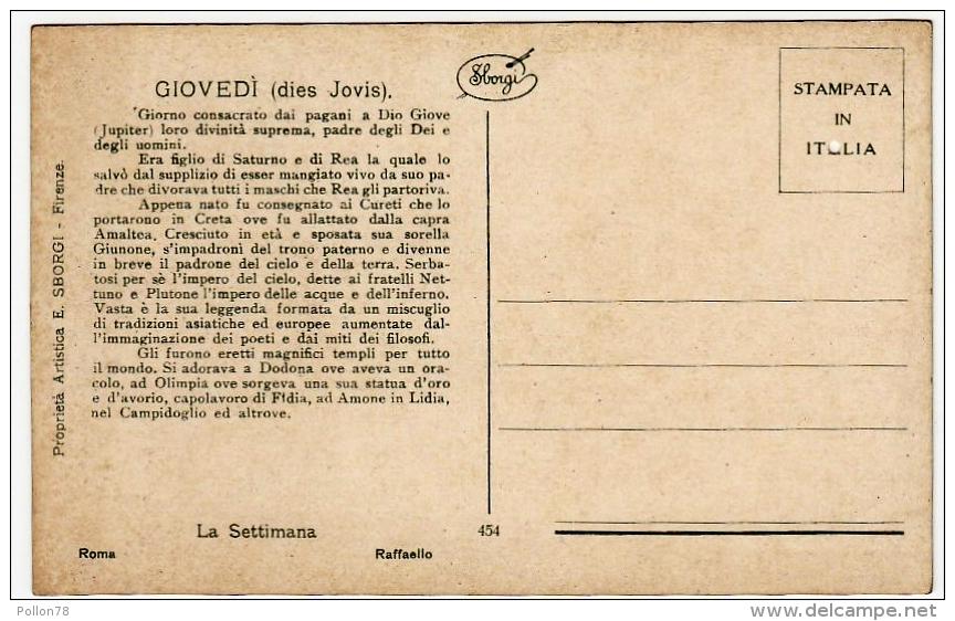 LA SETTIMANA - GIOVE - GIOVEDI´ - RAFFAELLO - Vedi Retro - Astronomia