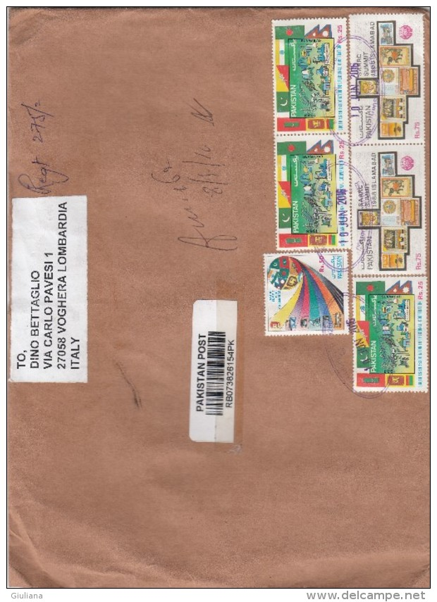 Pakistan 2016 - Busta Racc.  X L´Italia Affrancata Con 6 Stamps - Pakistan