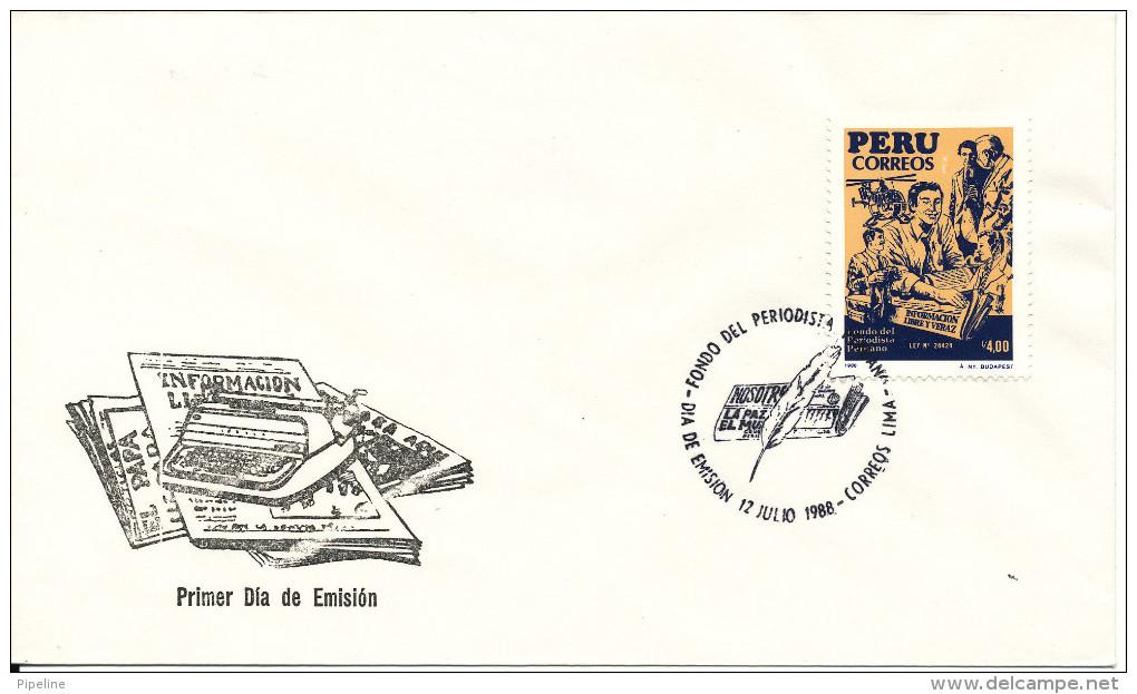 Peru FDC 12-7-1988 Journalists Funds With Cachet - Peru