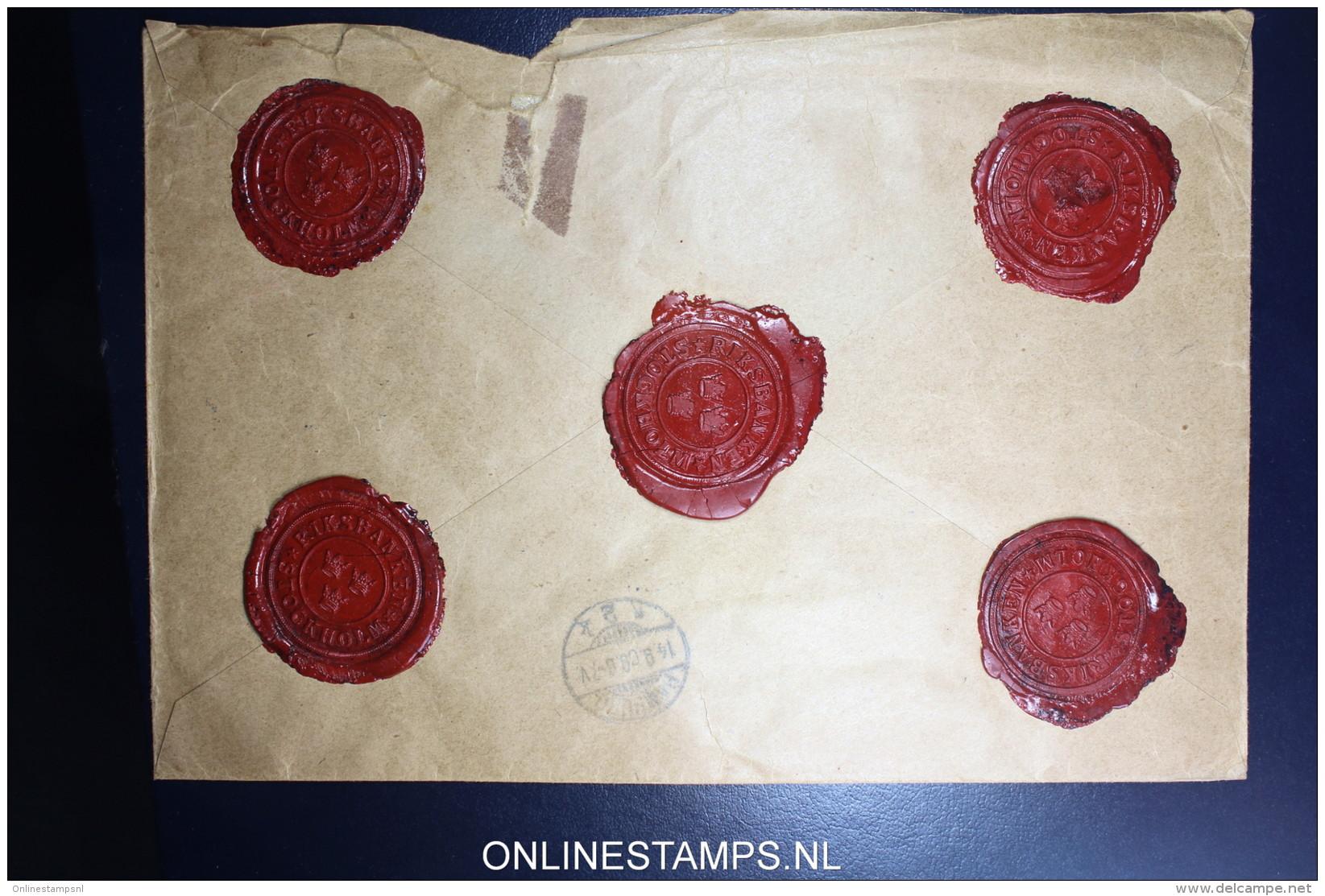 Sweden: Registered Cover Value Declared 1909 Mixed Stamps Sveriges Riksbank To Mamburg Wax Sealed - Schweden
