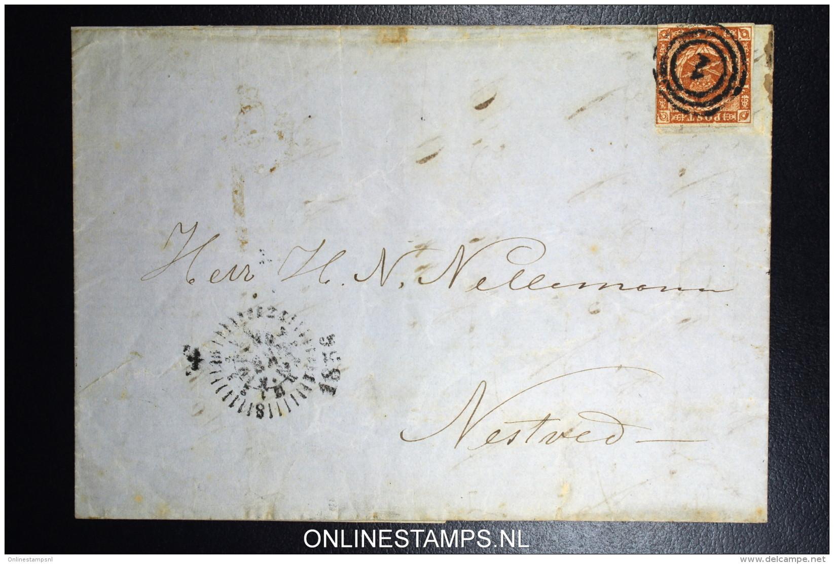 Denmark  Letter 1858 Copenhagen To Naestved Fa Nr 4 , CLOCK Letter Between P & O White Spot Print Error - 1851-63 (Frederik VII)