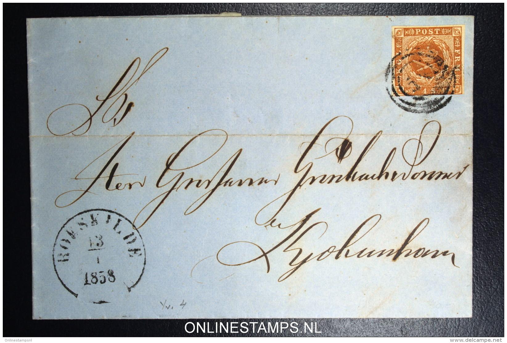 Denmark  Part Letter 1858 Roeskilde (nr 58) To Copenhagen Fa Nr 4 - Briefe U. Dokumente