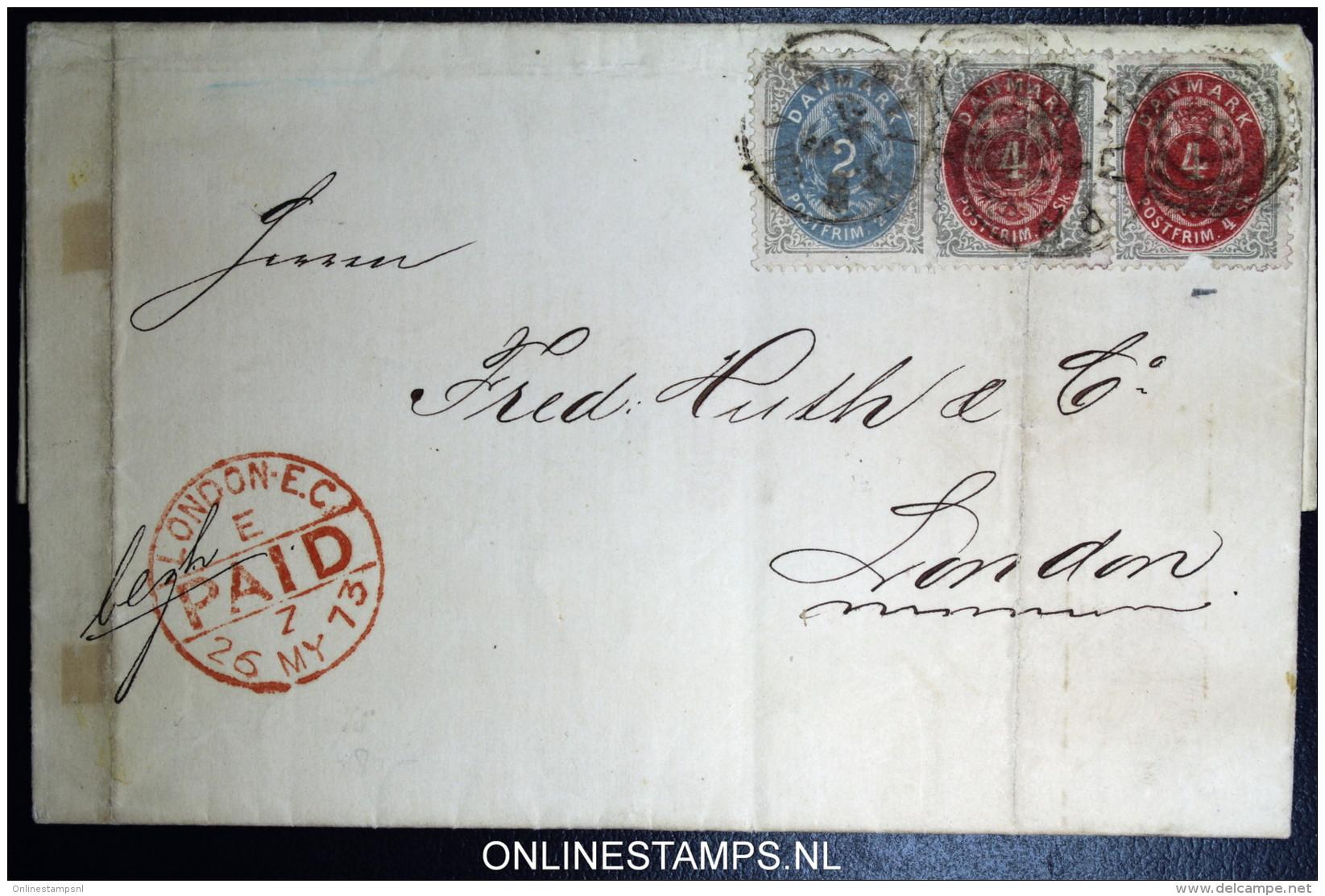 Denmark  Letter 1873 Copenhagen To London,  Fa 20 + 22 - 1864-04 (Christian IX)