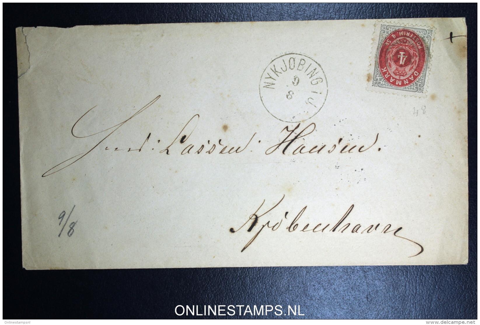 Denmark  Cover Nykjobing To Copenhagen Fa Nr 22 Train Cancel Of Ferry At Backside - 1864-04 (Christian IX)