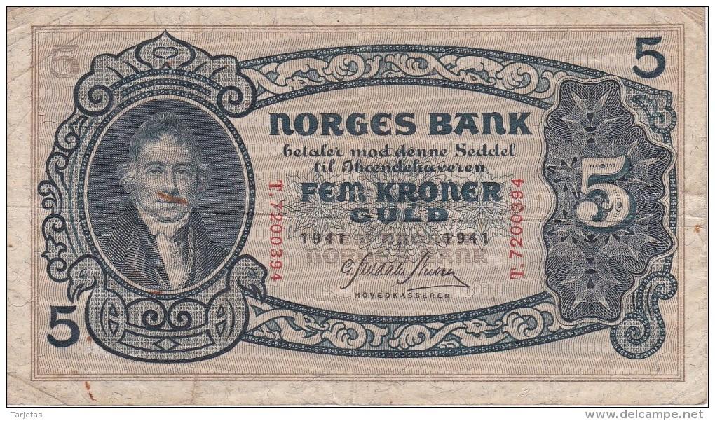 BILLETE DE NORUEGA DE 5 KRONER DEL AÑO 1941  (BANKNOTE) - Norvegia