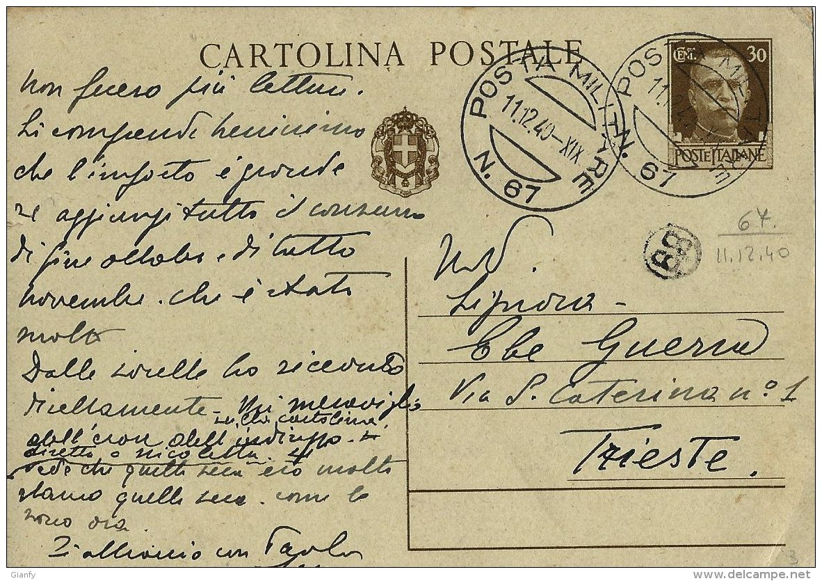 INTERO REGNO IMPERIALE 30 C POSTA MILITARE 67 1940 BARI X TRIESTE - 1900-44 Vittorio Emanuele III