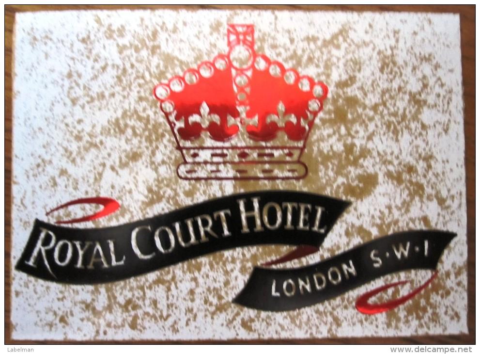HOTEL MOTOR MOTEL ROYAL COURT LONDON UK ENGLAND GREAT BRITAIN STICKER DECAL LUGGAGE LABEL ETIQUETTE AUFKLEBER - Hotel Labels