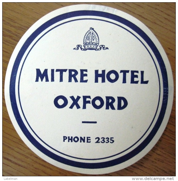 HOTEL MOTOR MOTEL MITRE OXFORD LANCASTER LONDON UK ENGLAND GREAT BRITAIN STICKER DECAL LUGGAGE LABEL ETIQUETTE AUFKLEBER - Hotel Labels