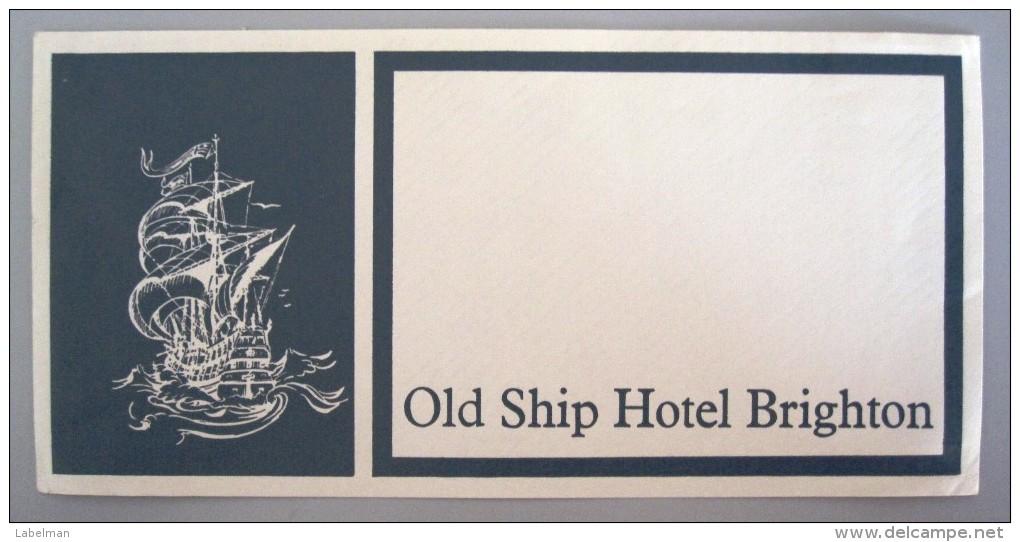 HOTEL MOTOR MOTEL OLD SHIP BRIGHTON LONDON UK ENGLAND GREAT BRITAIN STICKER DECAL LUGGAGE LABEL ETIQUETTE AUFKLEBER - Hotel Labels