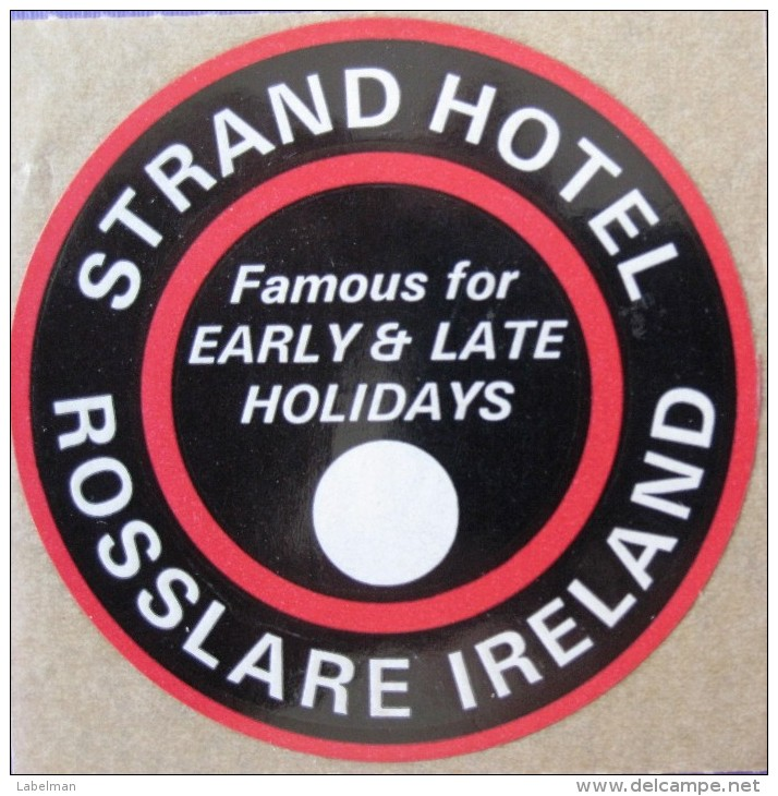 HOTEL MOTEL PENSION STRAND ROSSLARE MINI IRELAND DECAL STICKER LUGGAGE LABEL ETIQUETTE AUFKLEBER BELFAST DUBLIN - Hotel Labels