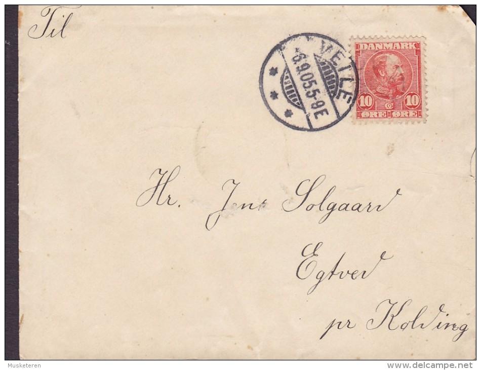 "Denmark Deluxe (Brotype Ia) VEILE 1905 ""Petite"" Cover Brief EGTVED Pr. KOLDING 10 Øre Christian IX. Stamp (2 Scans) - 1864-04 (Christian IX)"