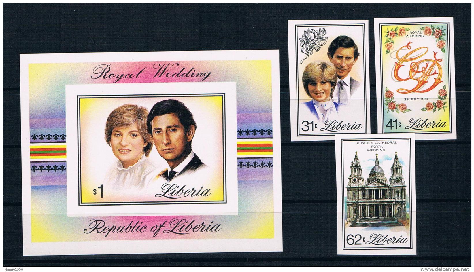 Liberia 1981 Royal Wedding - Charles Und Diana Mi.Nr. 1215/17 Kpl. Satz + Block 98 Ungezähnt ** - Liberia