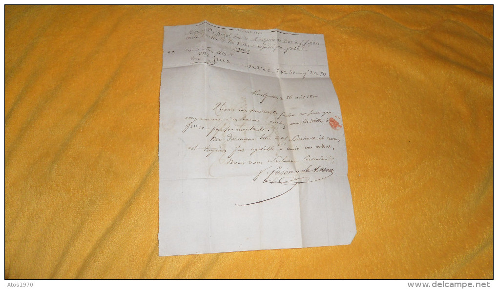 LETTRE ANCIENNE DE 1830. / F.FAJONS ONCLE & NEVEU. / MONTPELLIER A MONTPEYROUX. / CACHETS DONT ID ROUGE + TAXE - Postmark Collection (Covers)