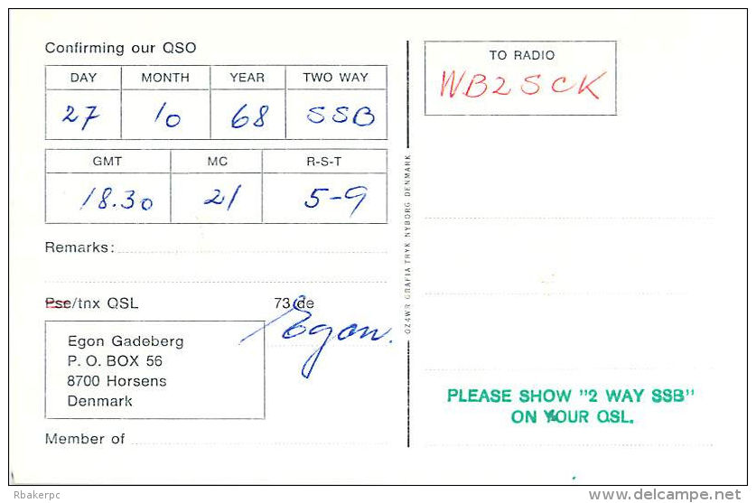 Amateur Radio QSL Card - OZ3SK - Horsens, Denmark - 1968 - 2 Scans - Radio Amateur