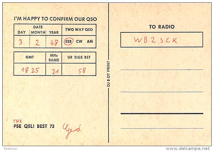 Amateur Radio QSL Card - DJ5BV - Germany - 1968 - 2 Scans - Radio Amateur