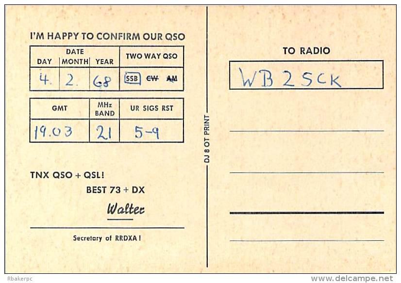 Amateur Radio QSL Card - DJ6QT - Germany - Feb 1968 On 21MHz SSB - 2 Scans - Radio Amateur