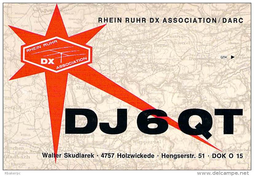 Amateur Radio QSL Card - DJ6QT - Germany - April 1968 On 21MHz SSB - 2 Scans - Radio Amateur
