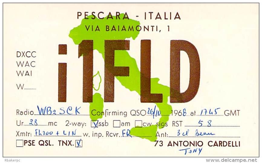 Amateur Radio QSL Card - I1FLD - Pescara, Italy - 1968 On 28MHz - Radio Amateur