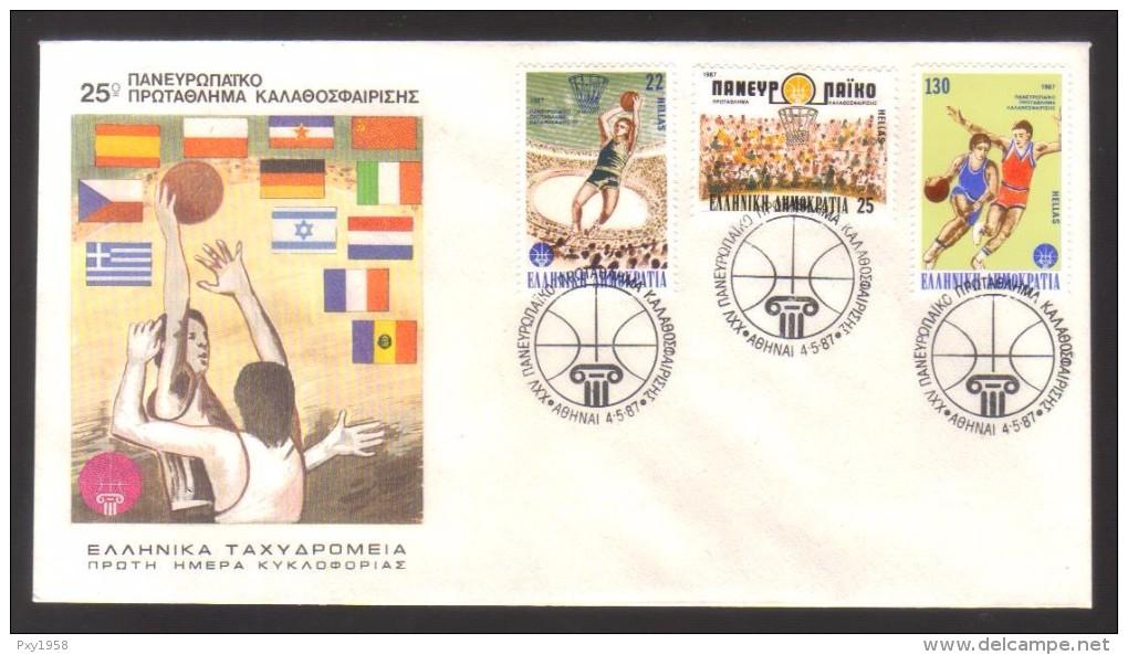 7789- Greece , Michel 1653-55 FDC – Basketball , Sport - FDC