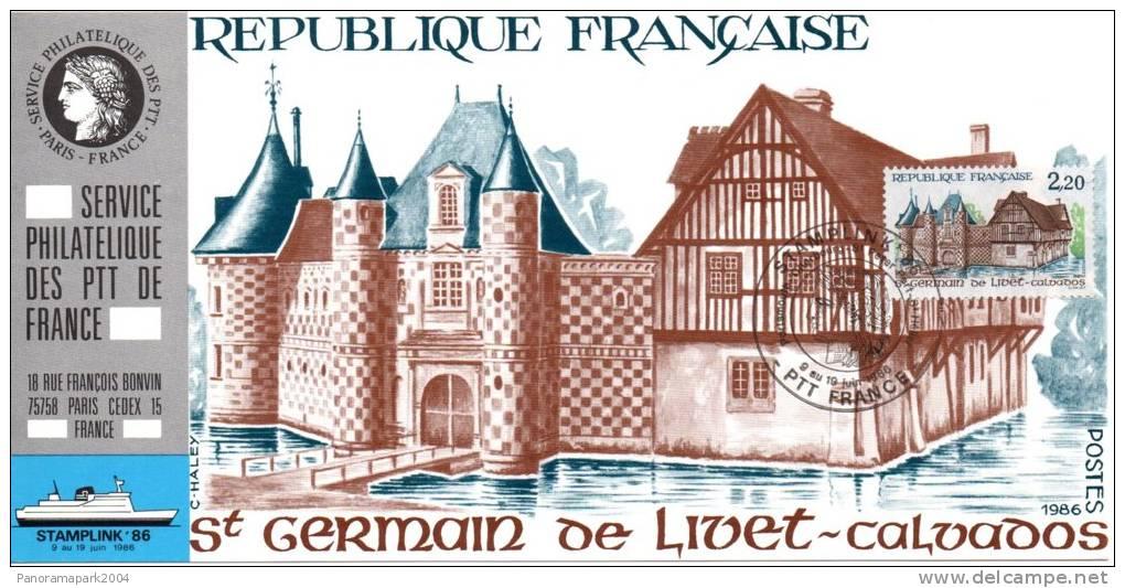 027 Carte Officielle Exposition Internationale Exhibition Stamplink 1986 France FDC St-Germain De Livet Calvados - Esposizioni Filateliche