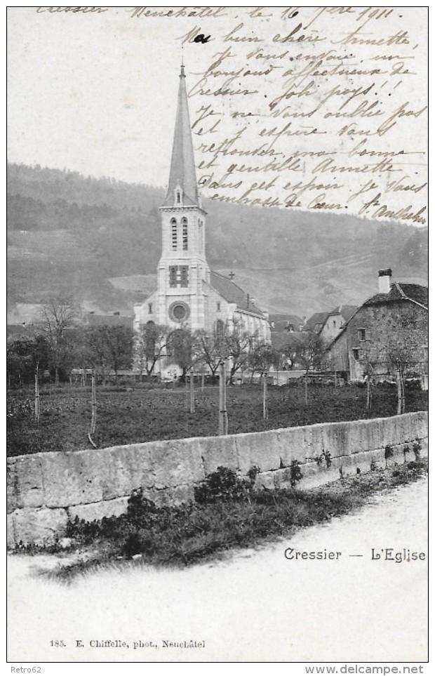 CRESSIER → Dorfpartie Um Die Kirche 1911 - NE Neuenburg