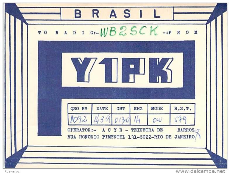 Amateur Radio QSL Card - Y1PK - Brazil - 1969 - Radio Amateur