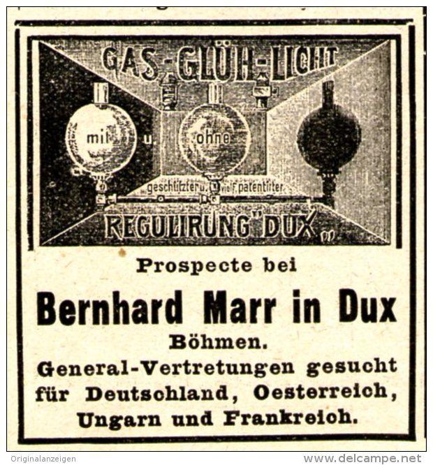 Original-Werbung/ Anzeige 1897 - GAS GLÜH LICHT REGULIRUNG BERNHARD MARR - DUX  (BÖHMEN) - Ca. 45 X 45 Mm - Publicités