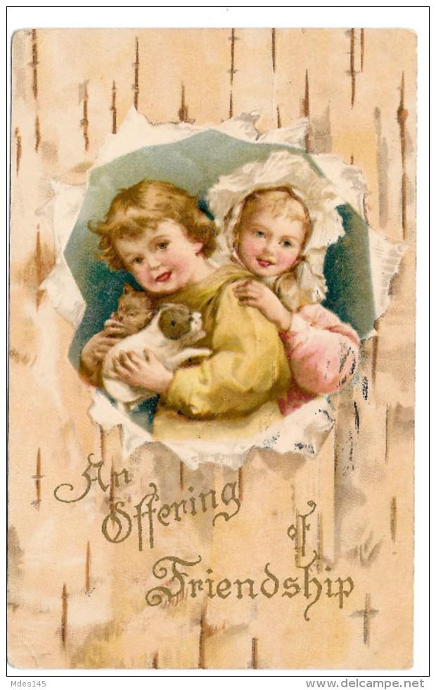 Offering Friendship Children Girl Boy W Puppy Dog Vintage Embossed Postcard 1909 - Other