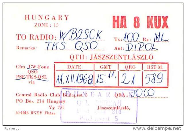 Amateur Radio QSL Card - HA8KUX - Jaszszentlaszlo, Hungary - 1968 - 2 Scans - Radio Amateur