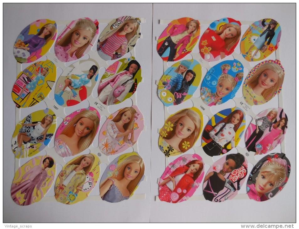 SCRAPS MLP 1997/98 Barbie Doll 2 Sheets Glanzbilder Oblaten Mamelok Cardmaking Decoupage Die-Cuts Prijects - Scrapbooking