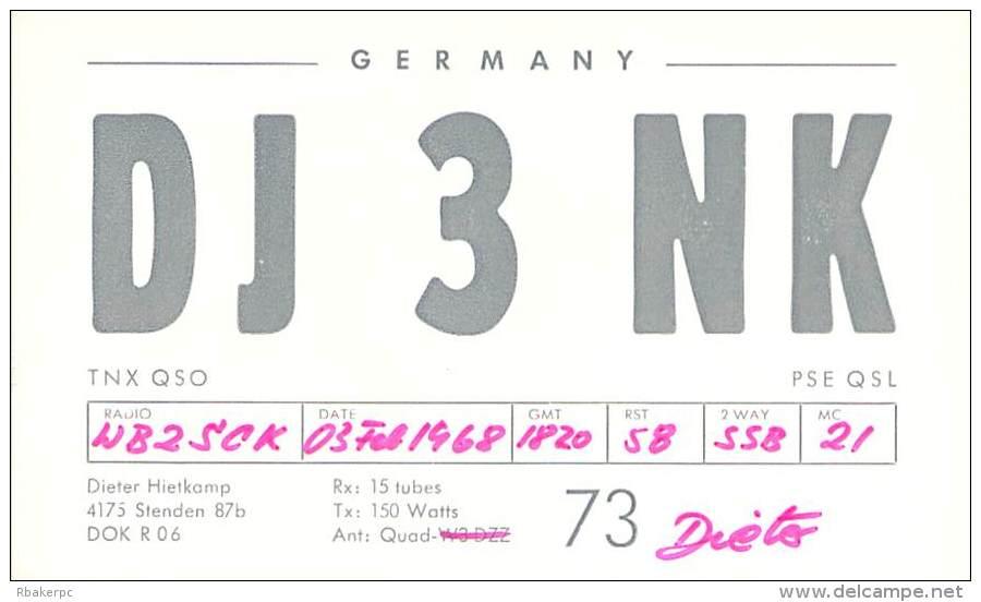 Amateur Radio QSL Card - DJ3NK - Stenden, Germany - 1968 - Radio Amateur