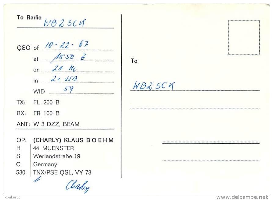 Amateur Radio QSL Card - DJ9TQ - Germany - 1967 - 2 Scans - Radio Amateur