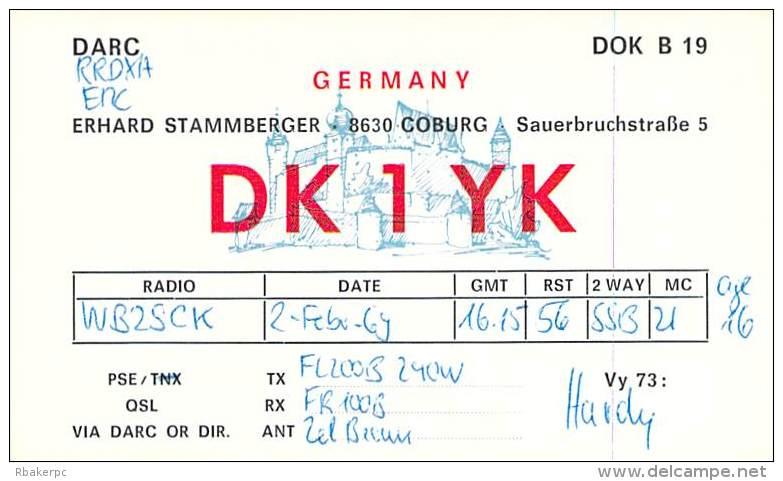 Amateur Radio QSL Card - DK1YK - Germany - 1969 - Radio Amateur