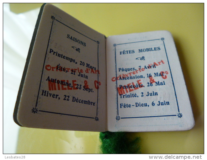 CALENDRIERS AGENDA PETIT CALENDRIER   BIJOU  1912  ORPHEVRERIE D'ART  MIELE & Cie - Calendari