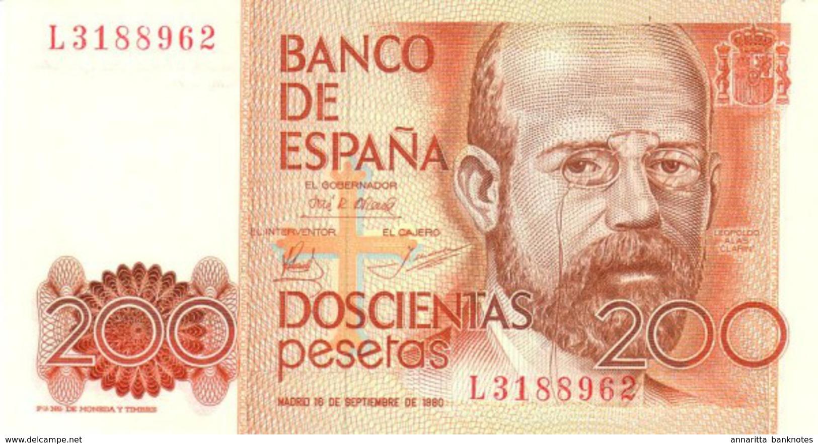 SPAIN 200  PESETAS 1980 P-156a UNC  [ ES156 ] - Spain